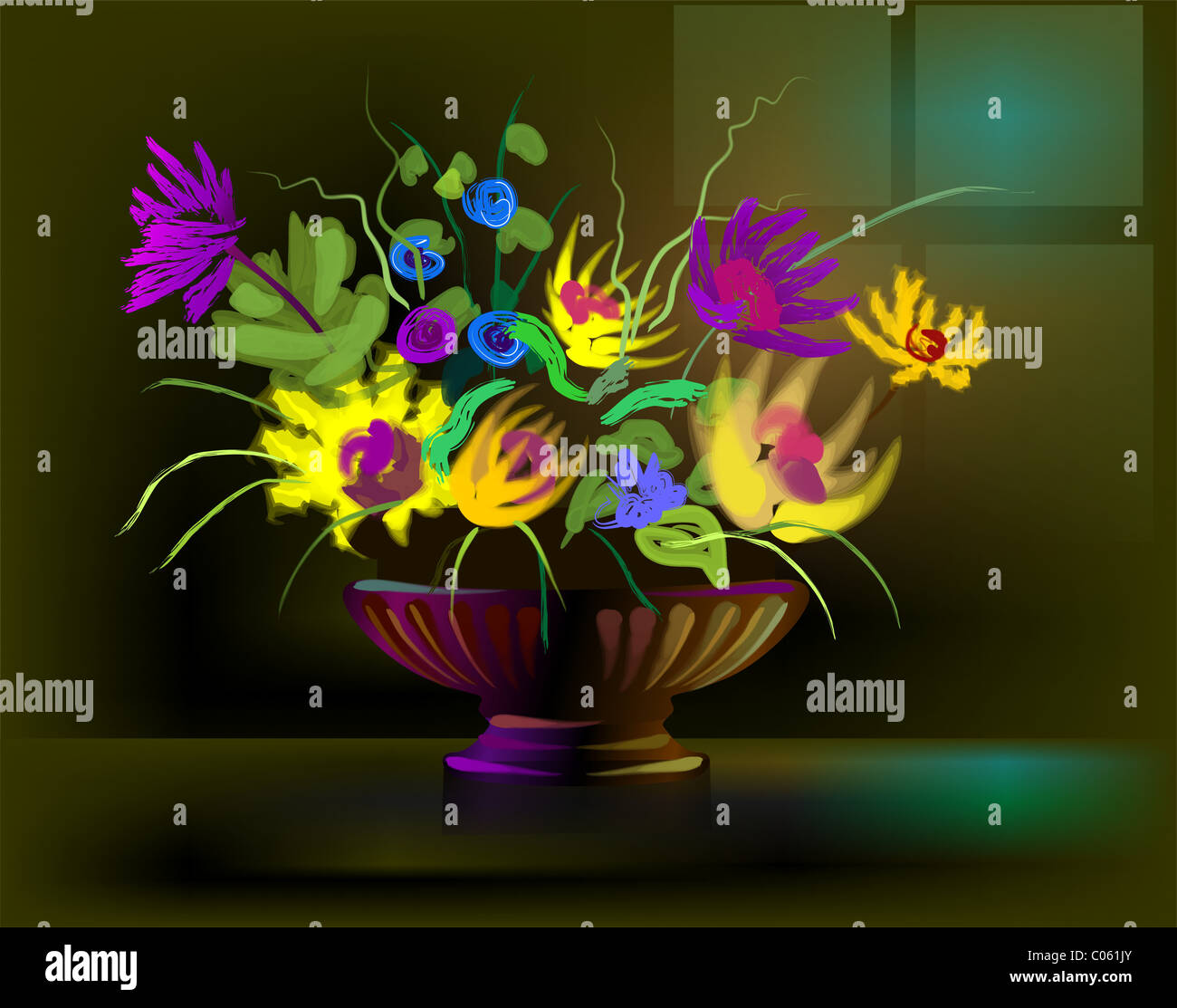 Digital painting of flower vase in colour background the artist is digital painting of flower vase in colour background the artist is experiencing the elegance and beauty of the bunch of flowers izmirmasajfo