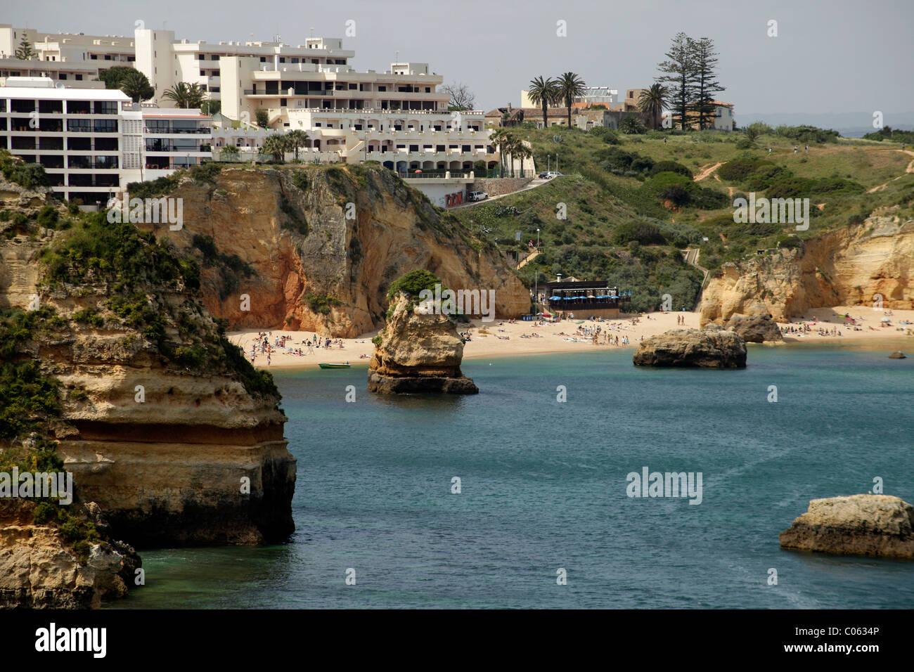 Hotel facilities at the beach Praia Dona Ana in Lagos, Algarve, Portugal, Europe - Stock Image