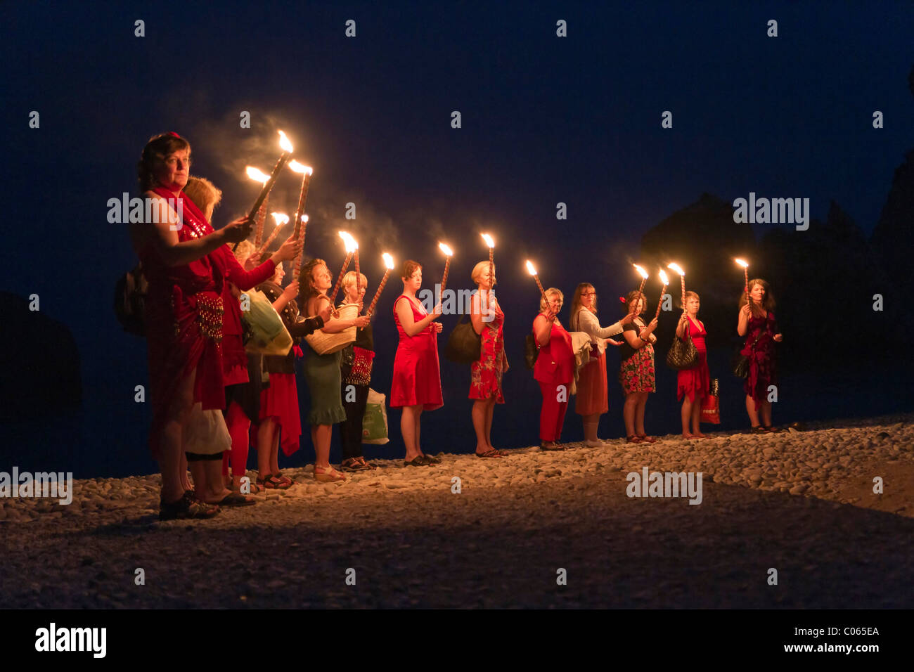 Night ceremony at the Aphrodite rocks, mystical, Petra tou Romiou, Southern Cyprus, South Coast, Greek Cyprus, Southern - Stock Image