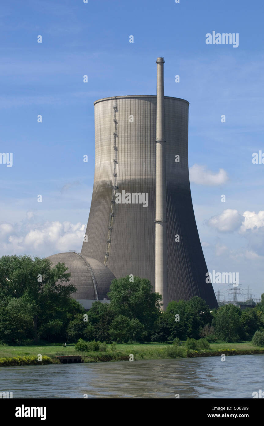 Nuclear power plant Muehlheim Kaerlich, cooling tower, power plant being dismantled, Rhineland-Palatinate, Germany, - Stock Image