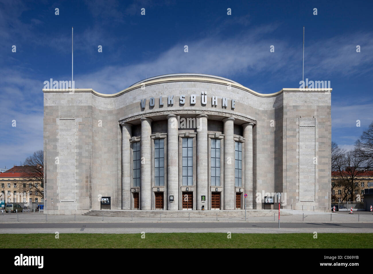 Volksbuehne Theatre on Rosa Luxemburg Square, Berlin-Mitte, Berlin, Germany, Europe - Stock Image