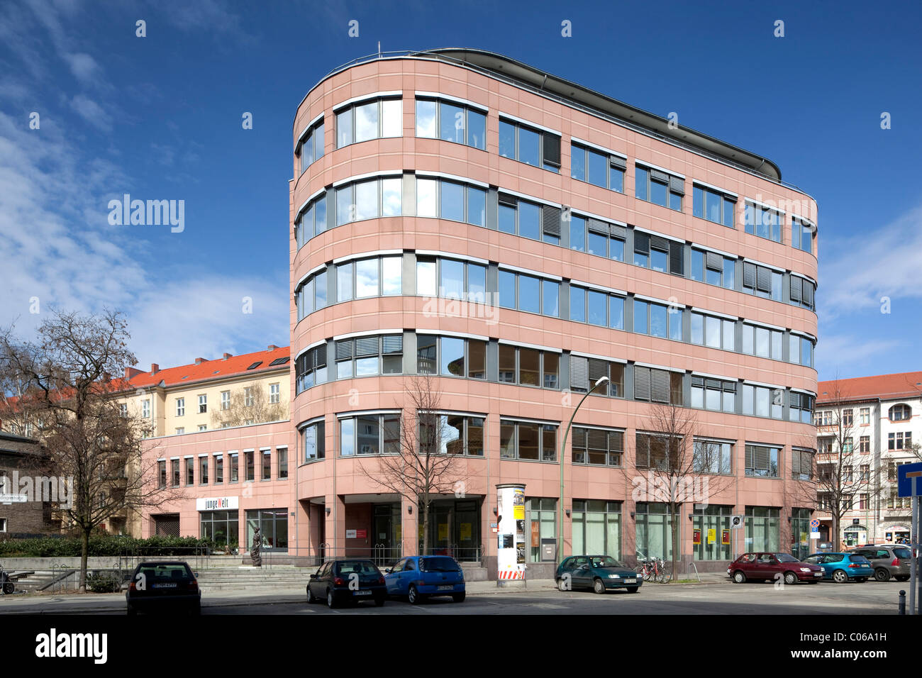 Office building, Torstrasse, editorial office of Junge Welt newspaper, Berlin-Mitte, Berlin, Germany, Europe - Stock Image