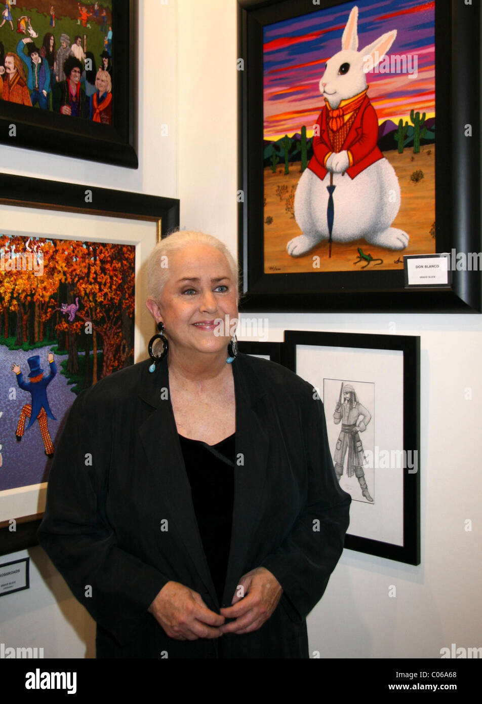 Grace Slick American singer and songwriter, exhibits her paintings and artwork at Mandalay Bay Hotel and Casino - Stock Image