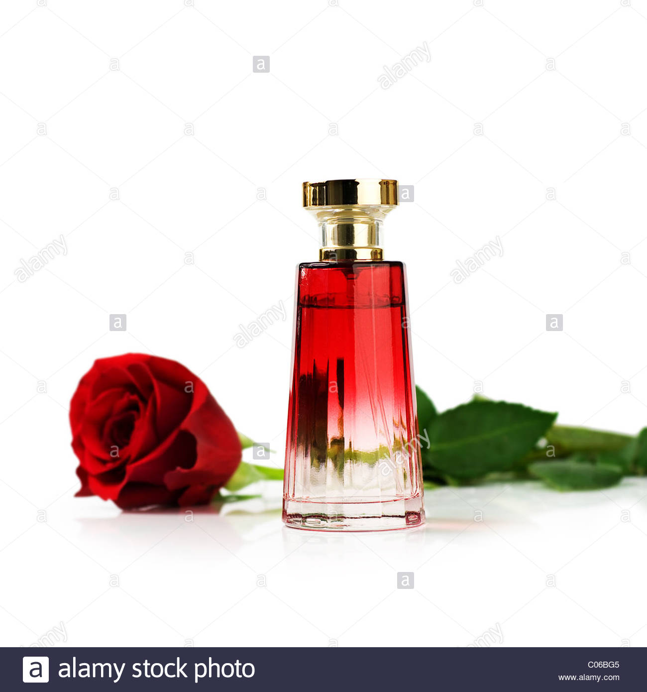 Red rose and Perfume bottle - Stock Image