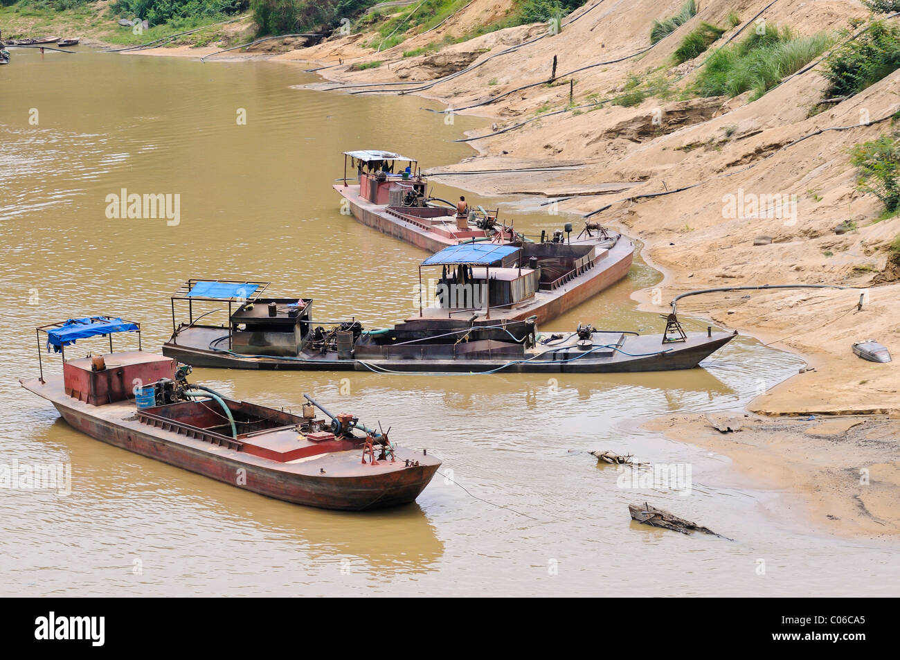 Sand extraction, sand suction boats, Vietnam, Asia - Stock Image