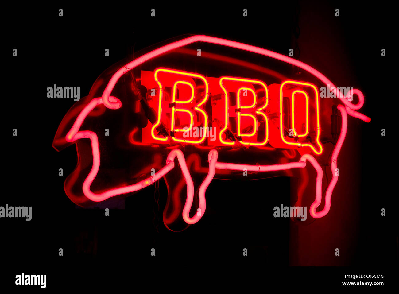 BBQ restaurant neon sign - Stock Image