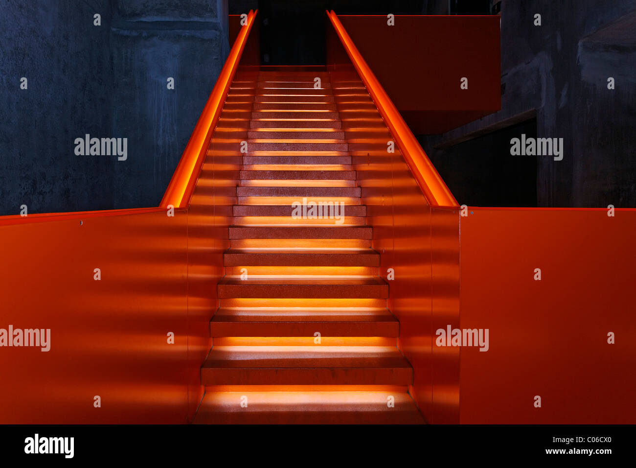 Illuminated staircase in the former coal washing plant, new Ruhr Museum, UNESCO World Heritage Site Zeche Zollverein, - Stock Image