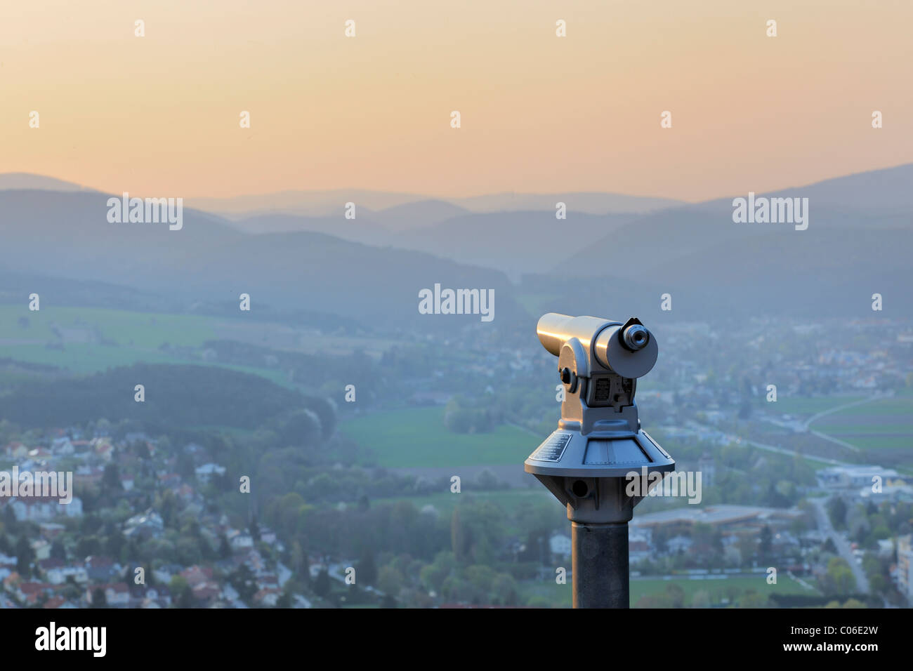 Coin-operated telescope overlooking Berndorf, Guglzipf lookout, Triestingtal valley, Lower Austria, Austria, Europe - Stock Image