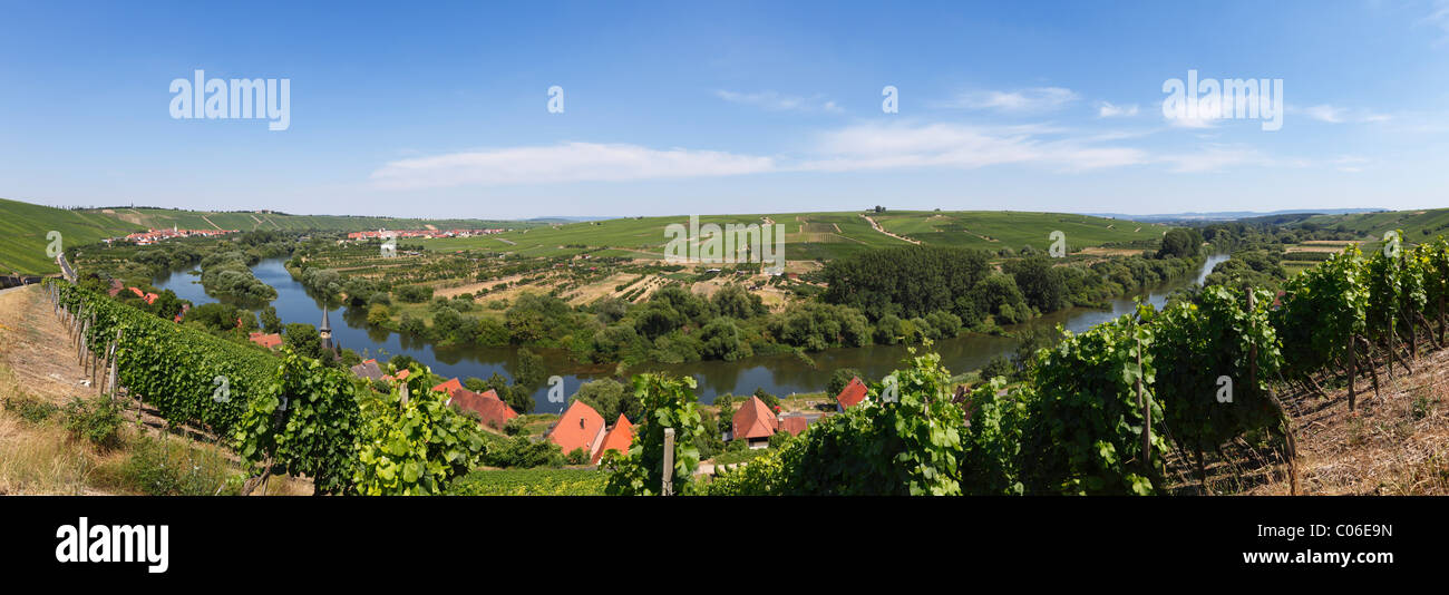 Old Main River, view over the towns of Koehler, Escherndorf, left, and Nordheim am Main, Mainschleife, loop in the - Stock Image