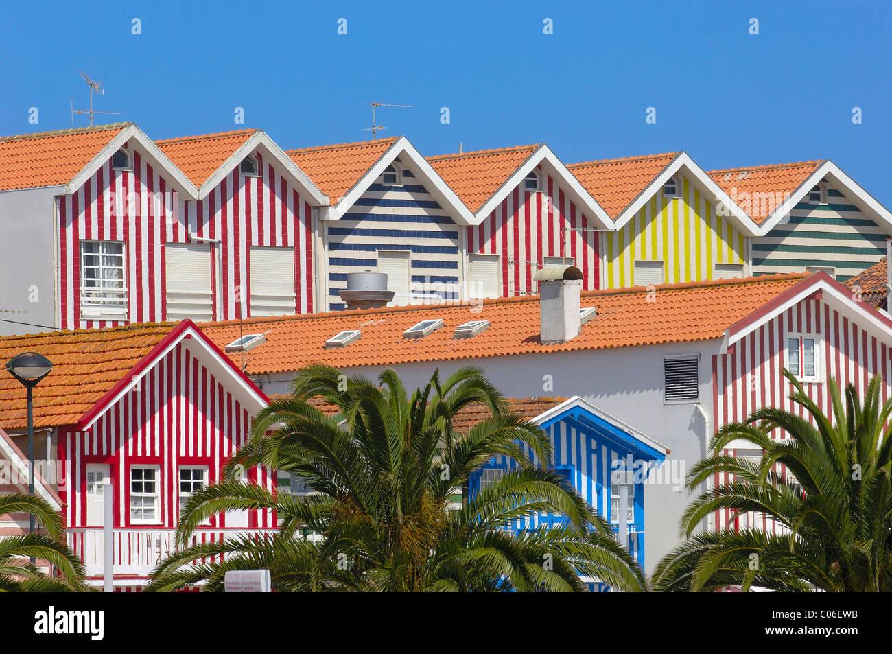 Colorful Houses( Palheiros), Costa Nova, Aveiro, Beiras region, Portugal Stock Photo