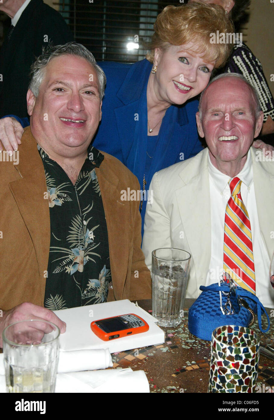 Harvey Fierstein, Debbie Reynolds and George Furth Opening night after party for the new musical ' A Catered - Stock Image
