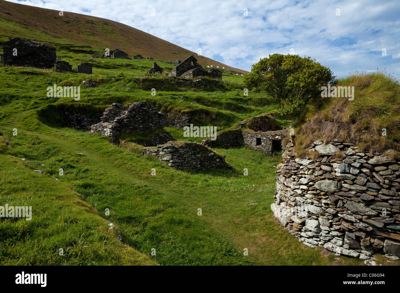 Deserted Cottages on Great Blasket Island, The Blasket Islands, Off Slea Head on the Dingle Peninsula, County Kerry, - Stock Image