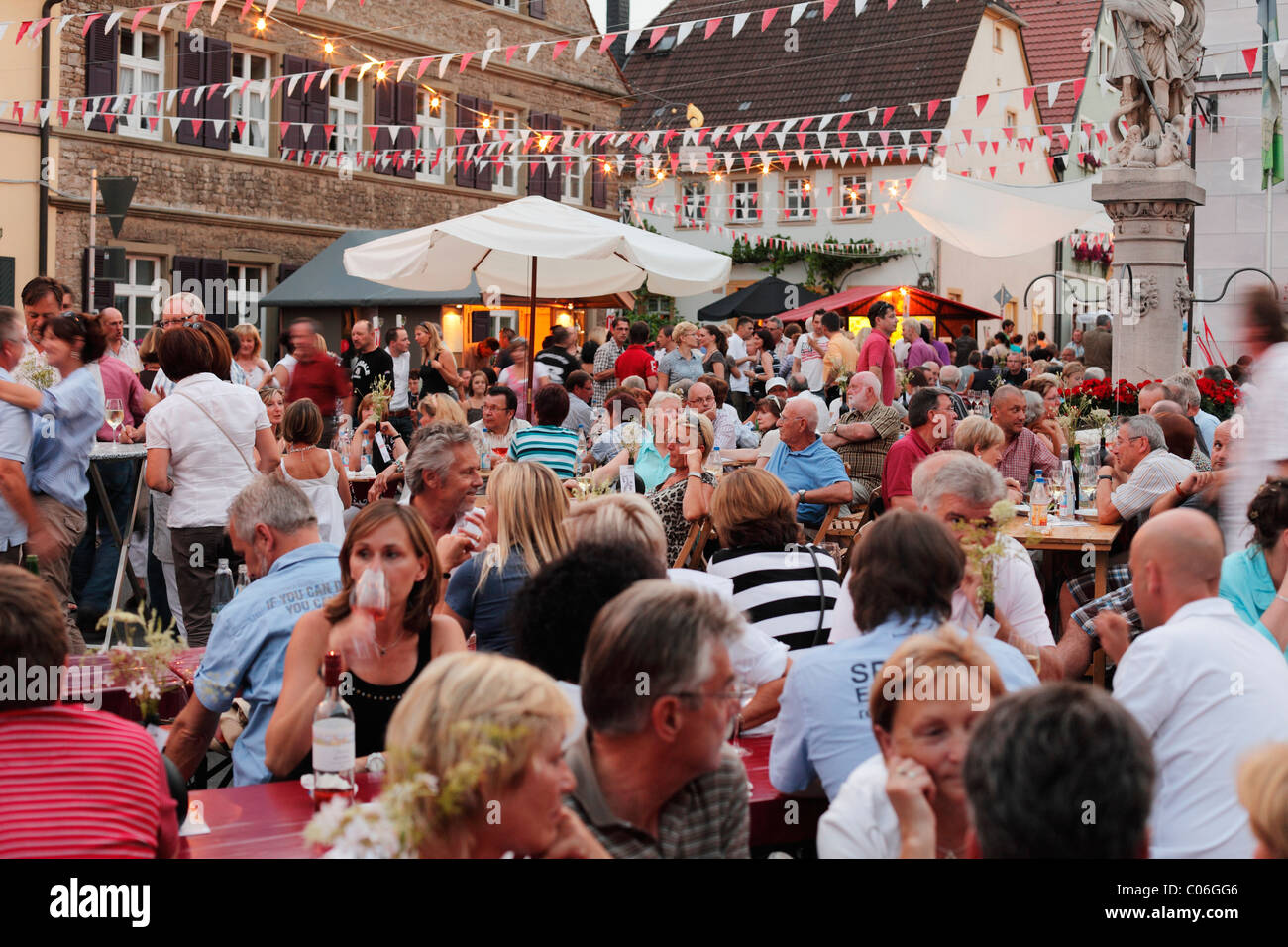 Wine festival, Sommerach, Main-Franconia region, Lower Franconia, Franconia, Bavaria, Germany, Europe Stock Photo