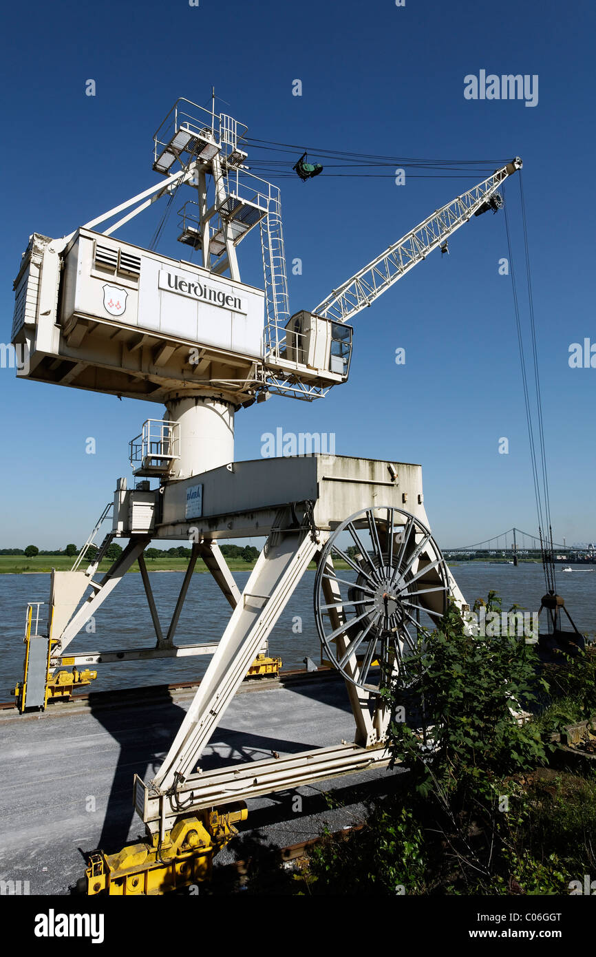 Port crane, Rhine port Krefeld-Uerdingen, North Rhine-Westphalia, Germany, Europe - Stock Image
