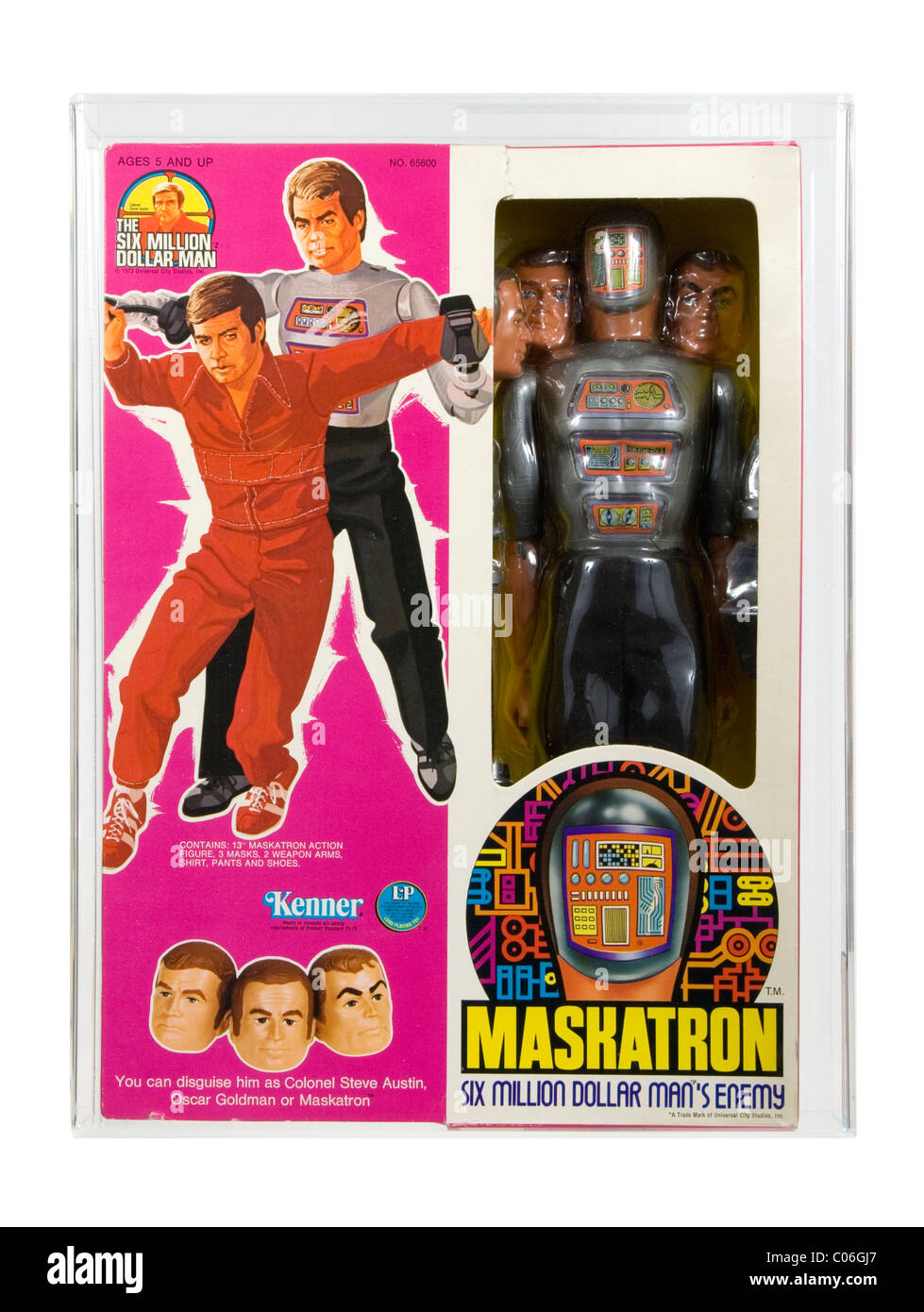 1977 Maskatron from the Six Million Dollar Man Series, made by Kenner.  An unplayed with example, AFA 60-Q Excellent - Stock Image