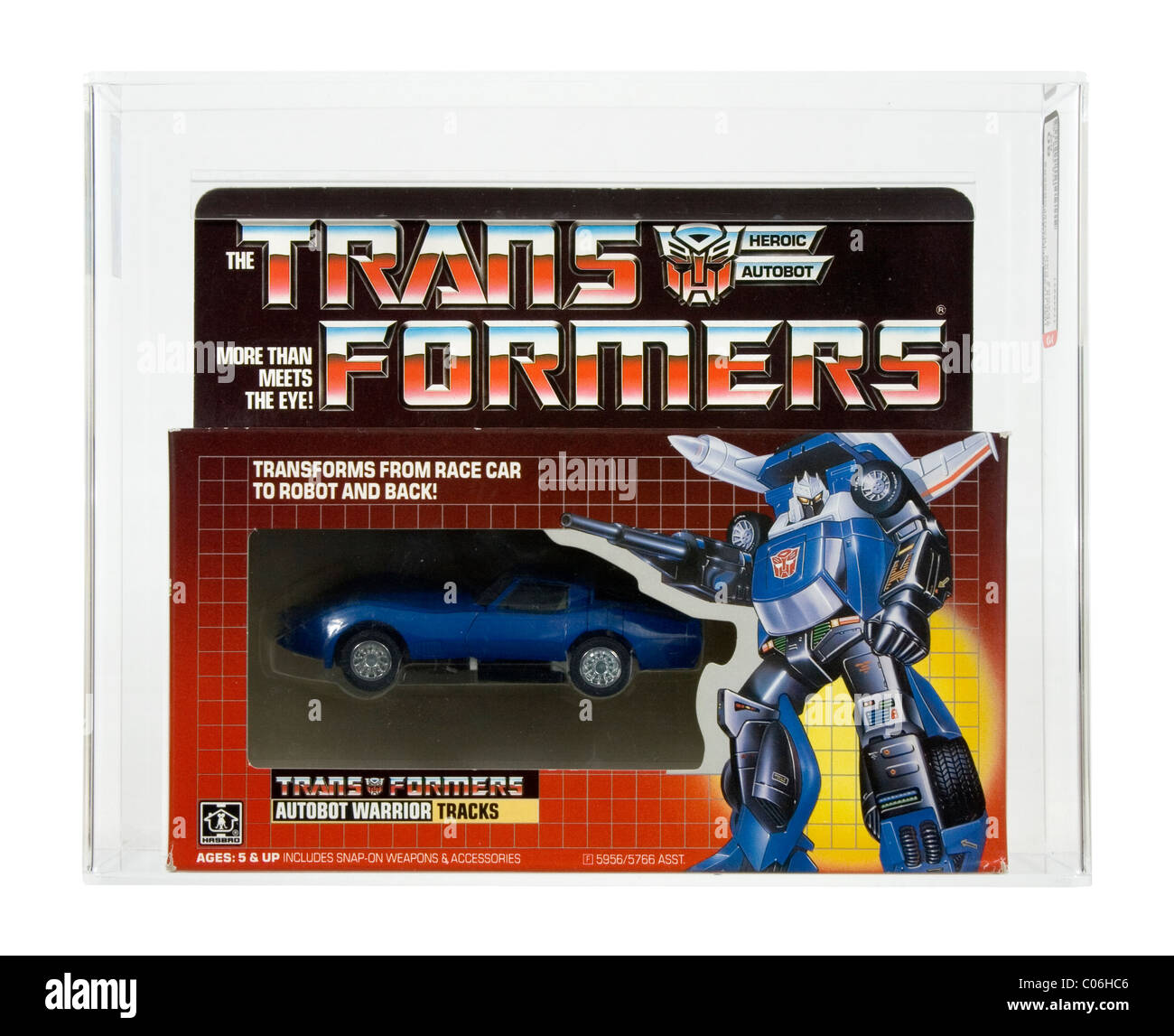 1985 Hasbro Transformers Series 2 car Autobot warrior Tracks AFA 80 NM (Near Mint) - Stock Image