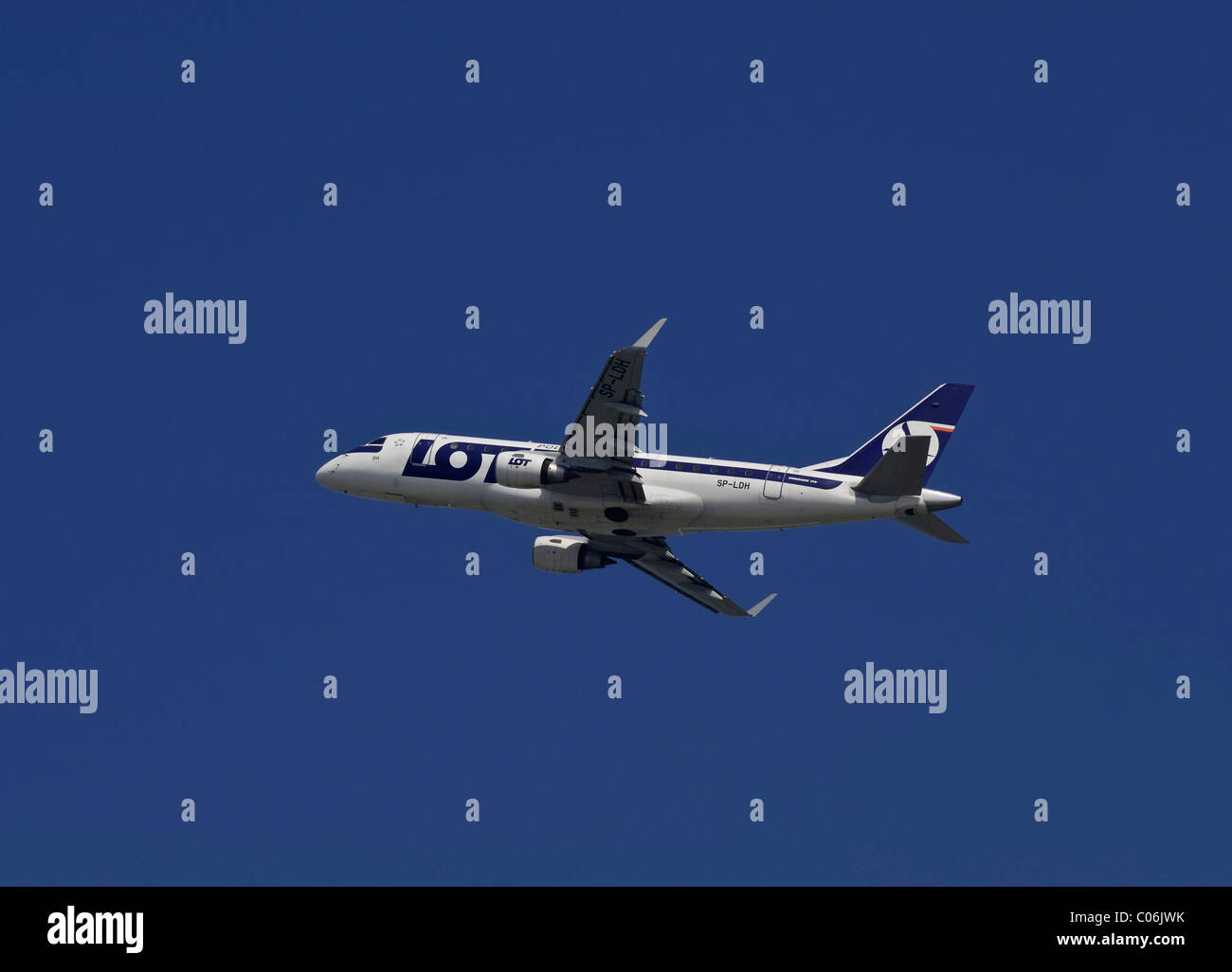 Embraer ERJ-170-100LR, regional aircraft from LOT Polish Airlines, climbing - Stock Image