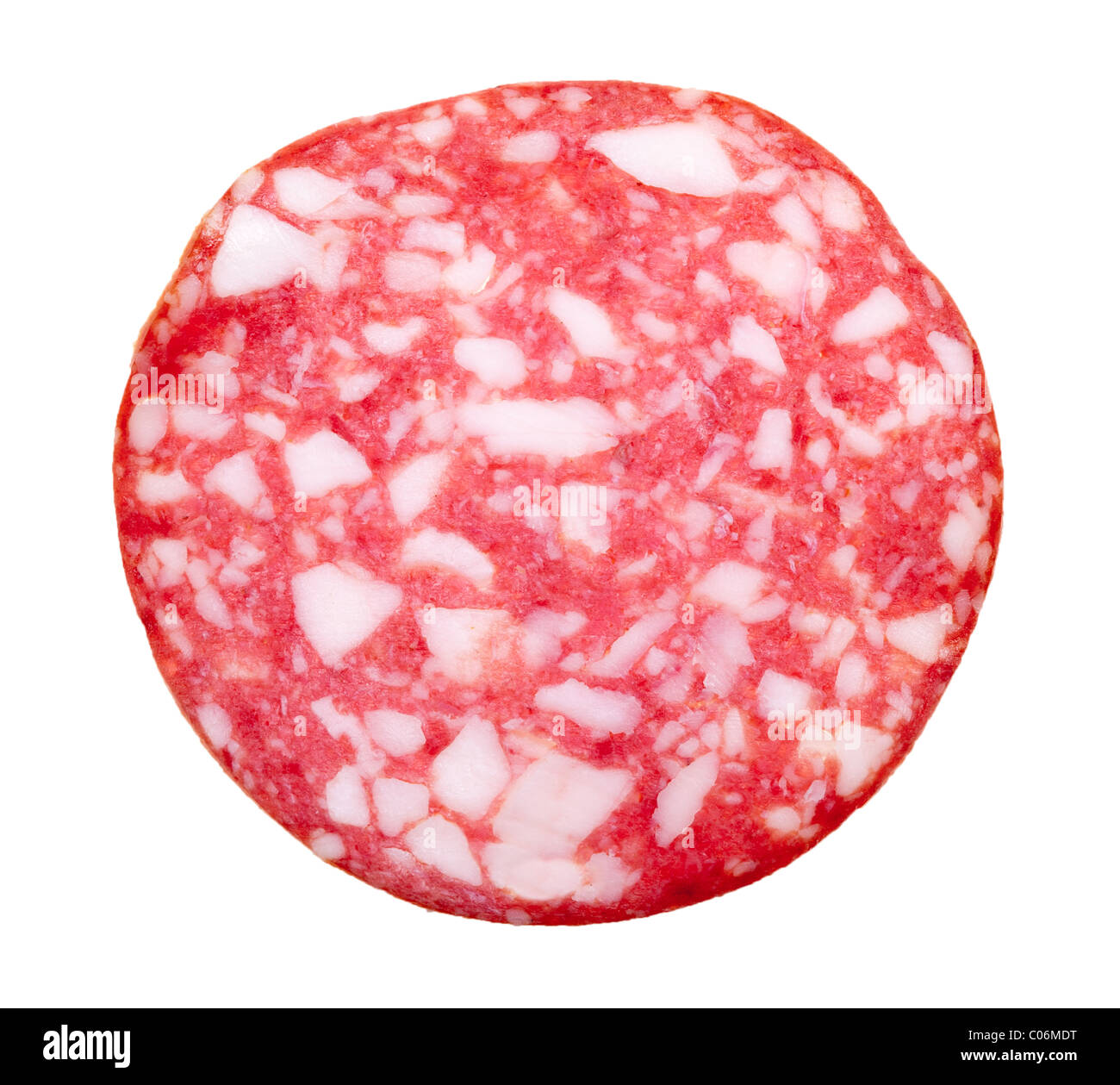 slice of salami isolated on a white background - Stock Image