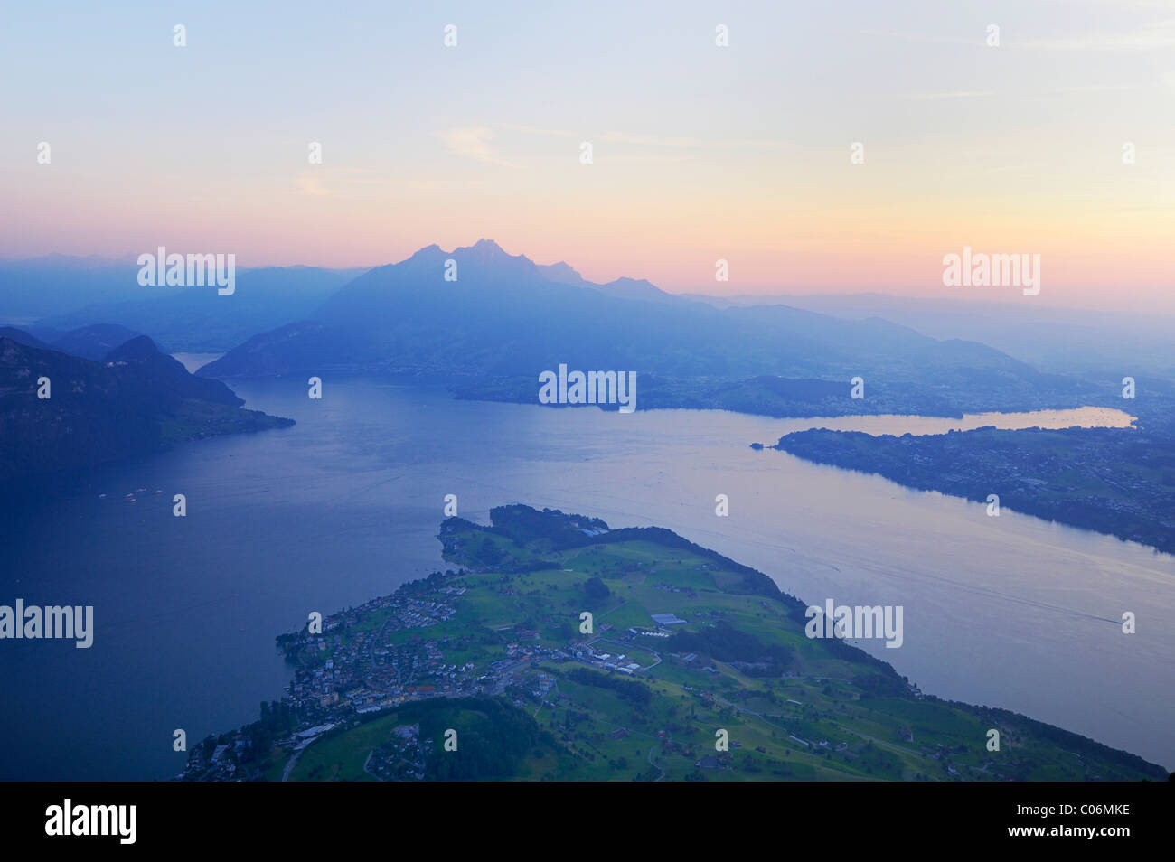 Lake Lucerne with the village of Weggis, in the distance, Pilatus Mountain, Lucerne, Switzerland, Europe - Stock Image