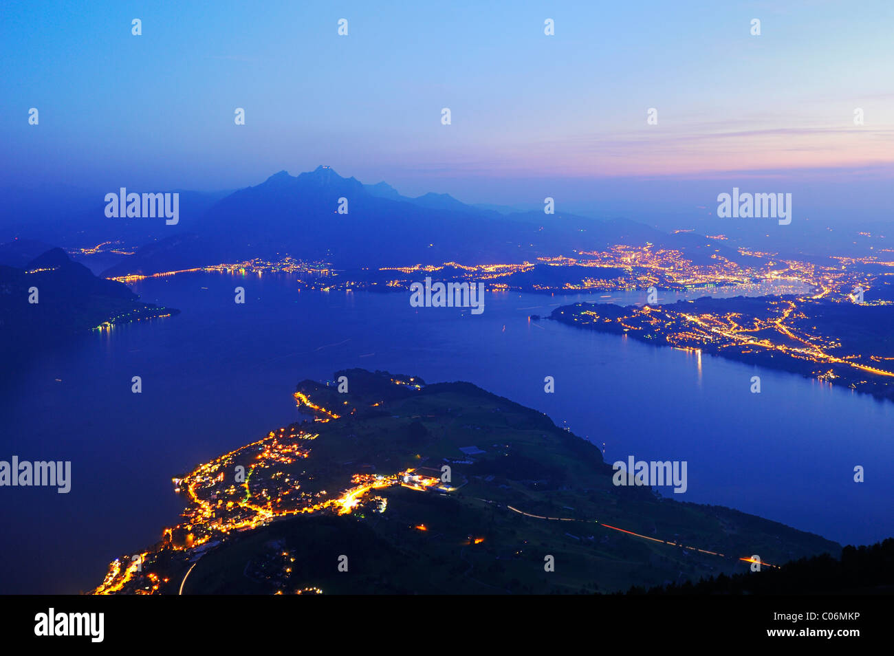Lake Lucerne with the city of Lucerne, in the distance, Pilatus Mountain, Lucerne, Switzerland, Europe - Stock Image
