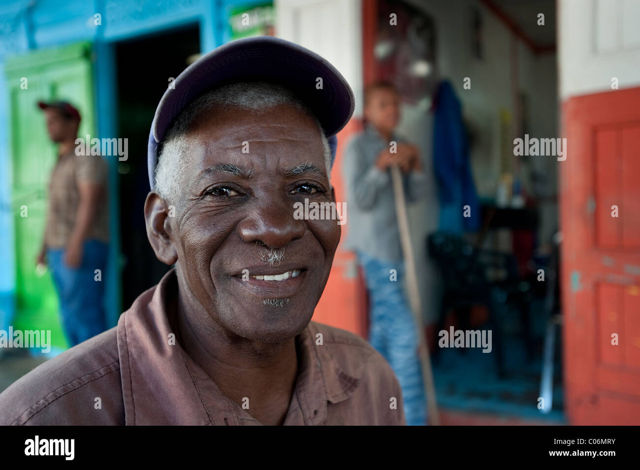 Local trader, Otrabanda, Dominican Republic - Stock Image