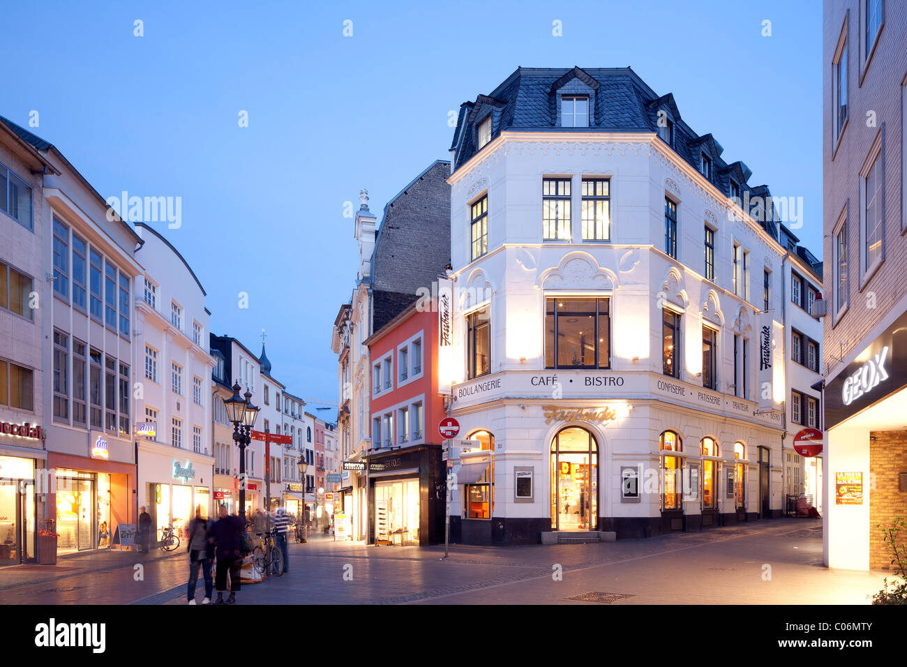 Commercial businesses in the historic town centre, Bonn, Rhineland, North Rhine-Westphalia, Germany, Europe - Stock Image
