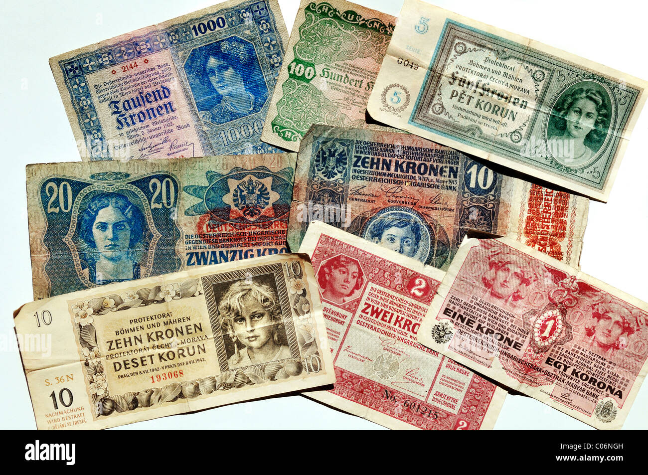 Kronen banknotes, Austro-Hungarian Bank and the Protectorate of Bohemia and Moravia, 1915-1942, Europe - Stock Image