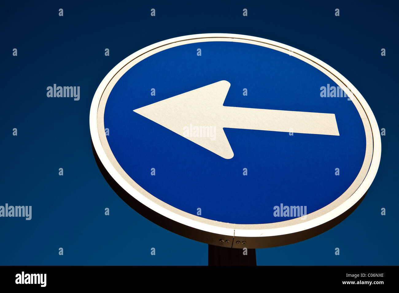 This way - blue road sign Stock Photo