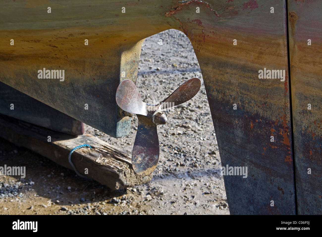 Yacht keel and propeller - Stock Image