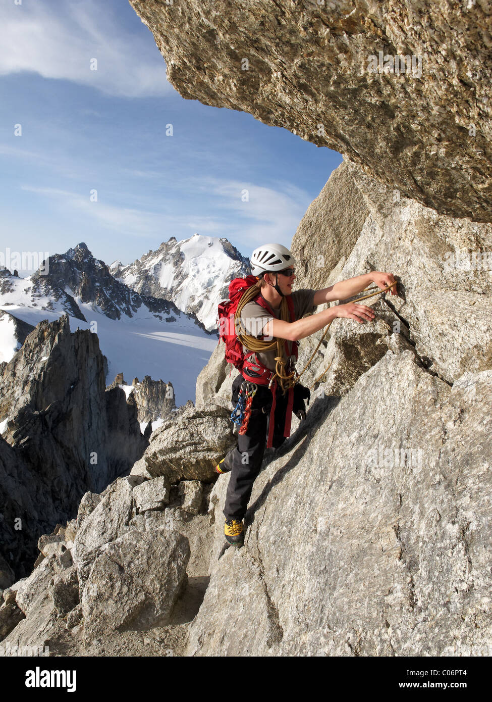 Alpine climbers on the Aiguille du Tour, in the French Alps. - Stock Image