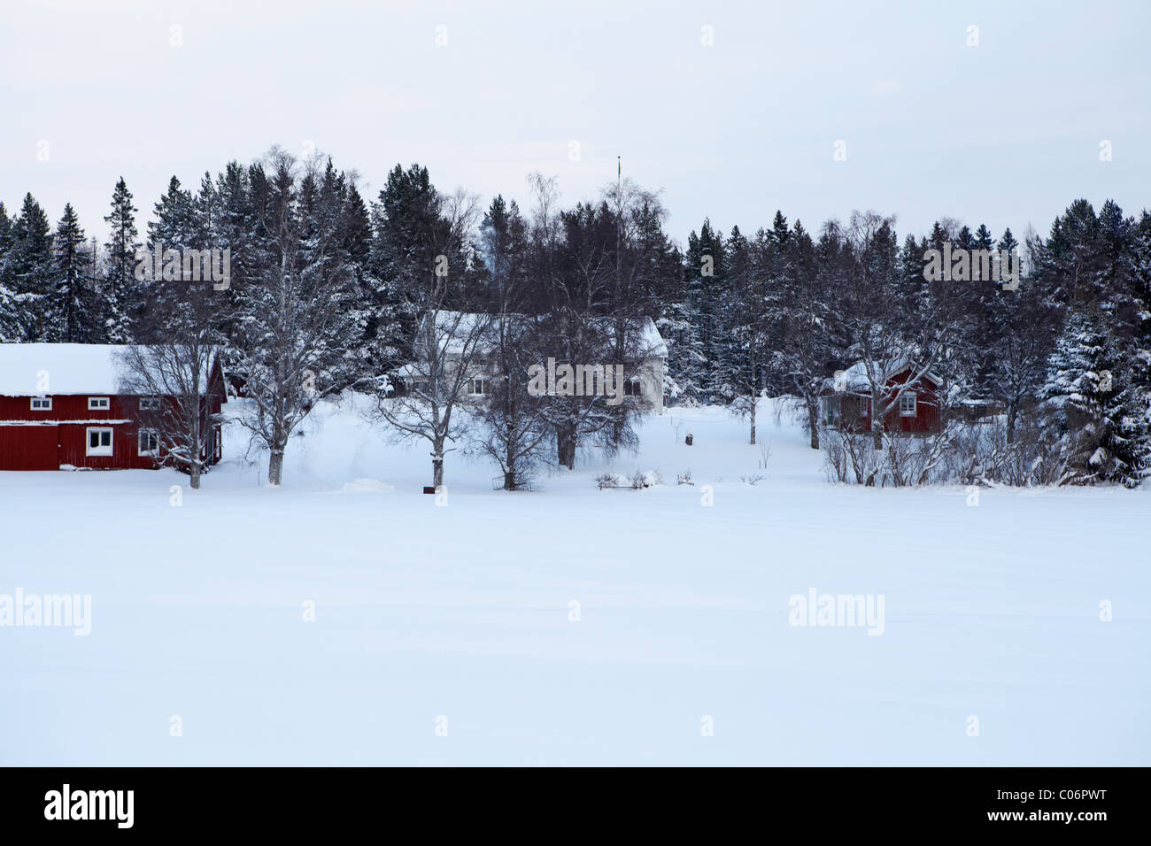 Snow covered landscape of houses in forest - Stock Image