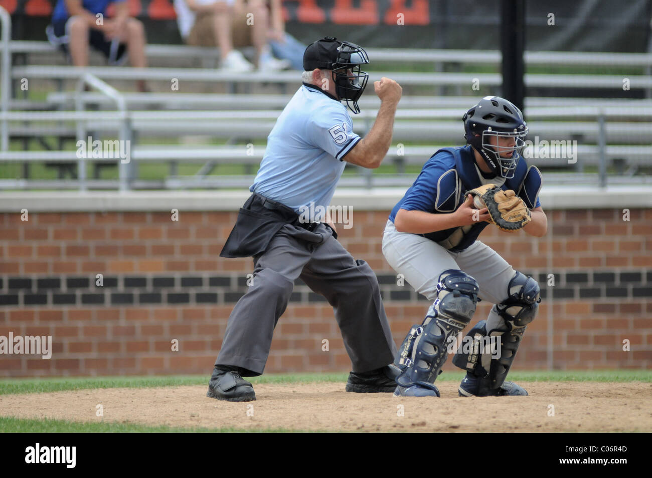 Home plate umpire rings up the batter with a third strike call during a high school & Baseball Umpire Stock Photos u0026 Baseball Umpire Stock Images - Alamy