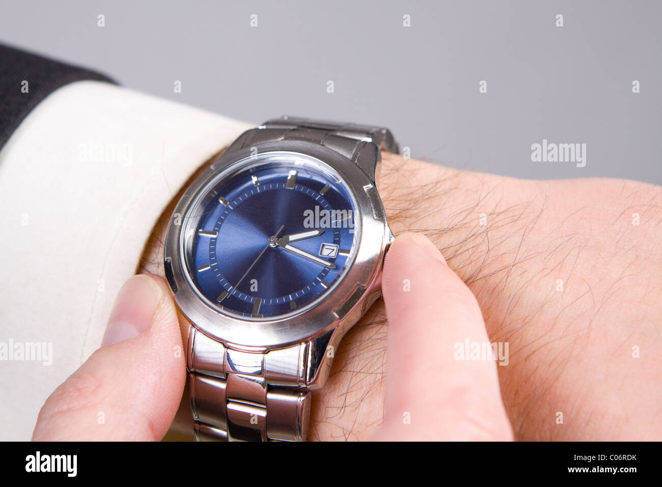 Hand ready to stop chronograph in a modern watch. Stock Photo
