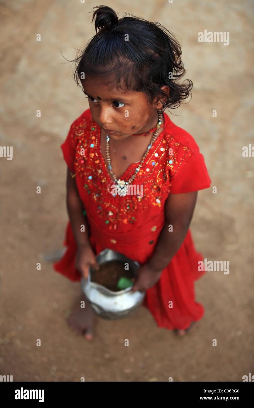girl looking sad Andhra Pradesh South India - Stock Image