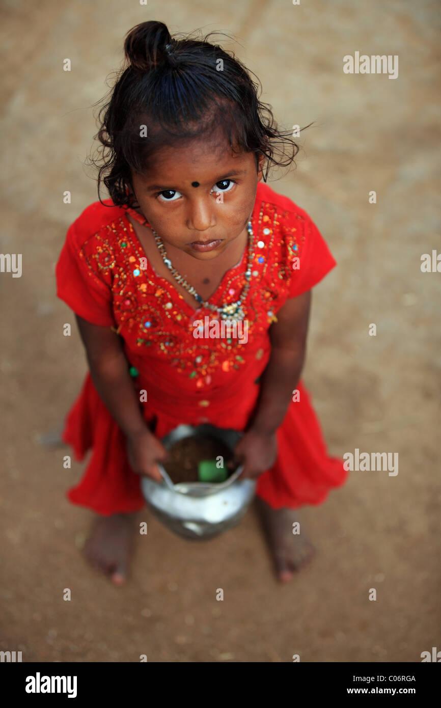sad girl Andhra Pradesh South India - Stock Image