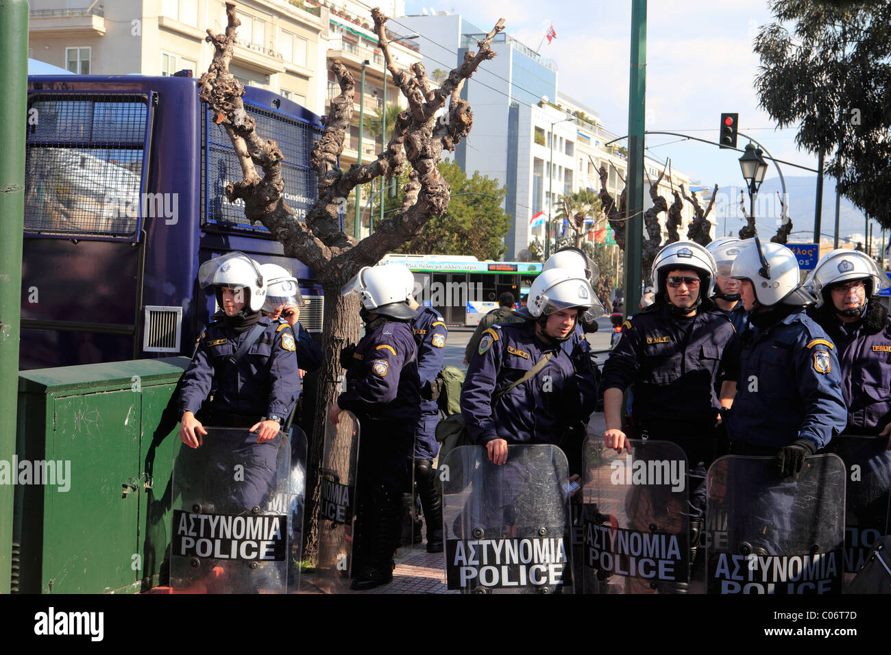 europe greece athens riot police during an anti government rally - Stock Image
