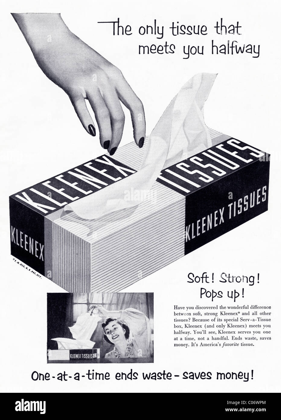 Original 1950s full page advertisement in American consumer magazine for KLEENEX TISSUES - Stock Image