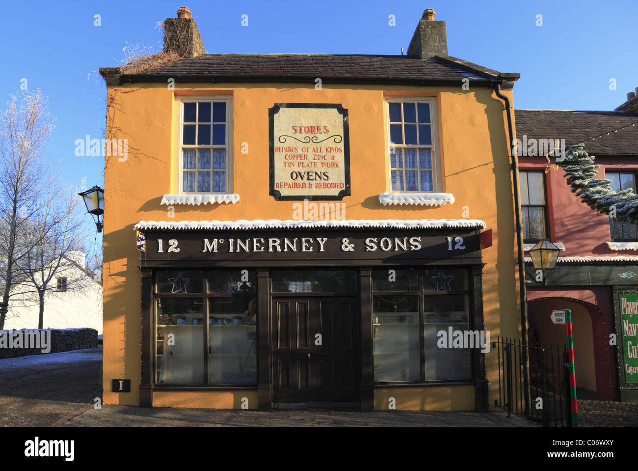 A traditional Irish Shopfront at Bunratty, Co Clare, Rep of Ireland. Stock Photo