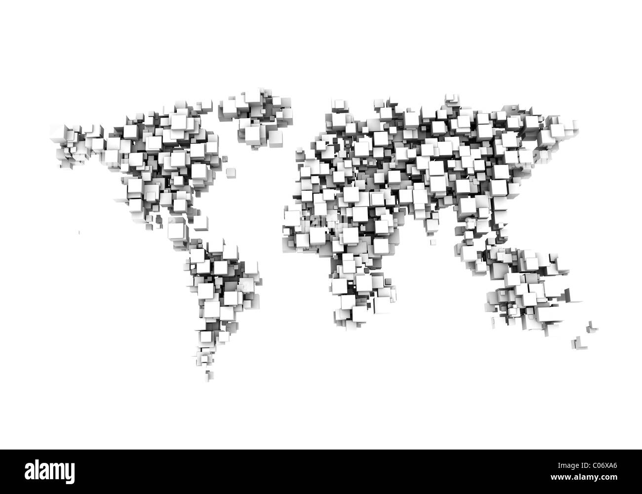 Abstract World Map Made Of Cubes Stock Photo 34573118 Alamy