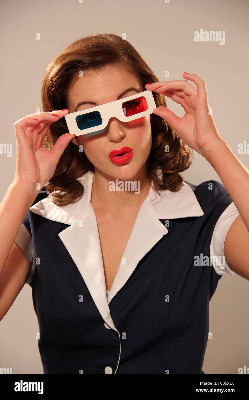 15d90b2fb6 Woman wearing a pair of vintage 3D glasses Stock Photo  34573280 - Alamy