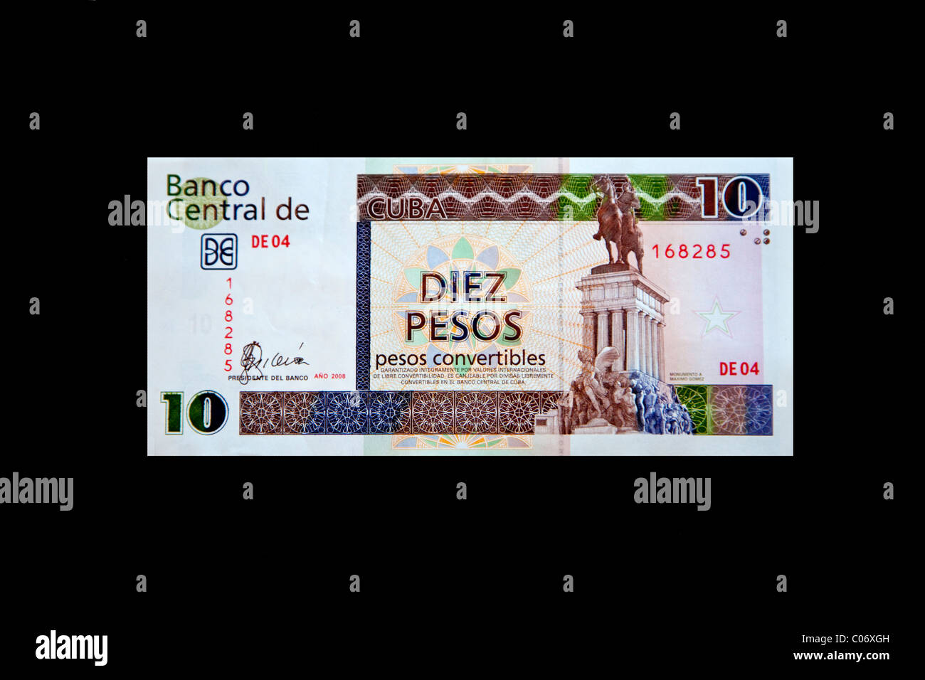 Cuba, Havana. 'Pesos Convertibles', the pesos used by tourists in Cuba. This is a 10 peso note. - Stock Image