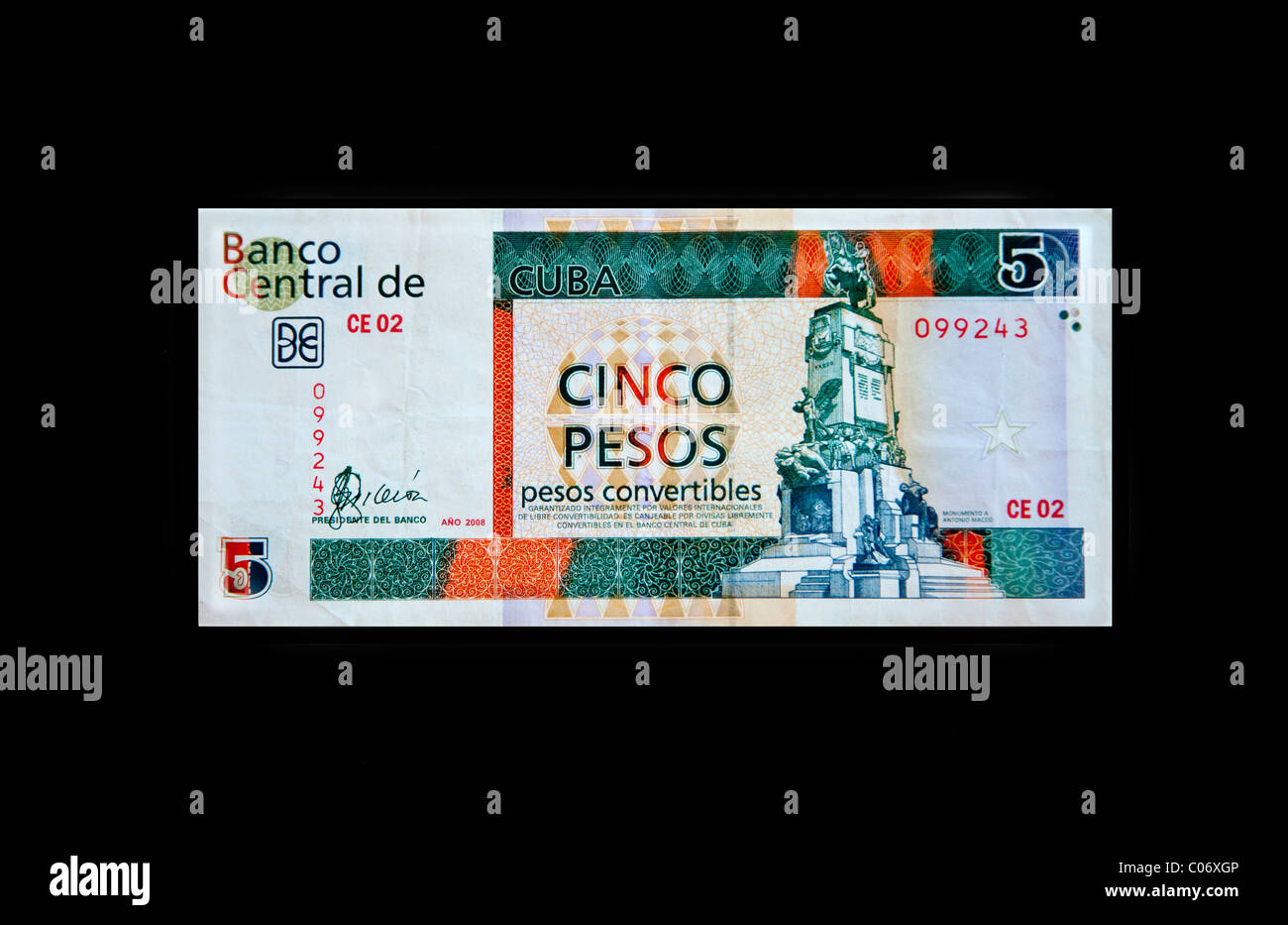Cuba, Havana. 'Pesos Convertibles', the pesos used by tourists in Cuba. This is a 5 peso note. - Stock Image