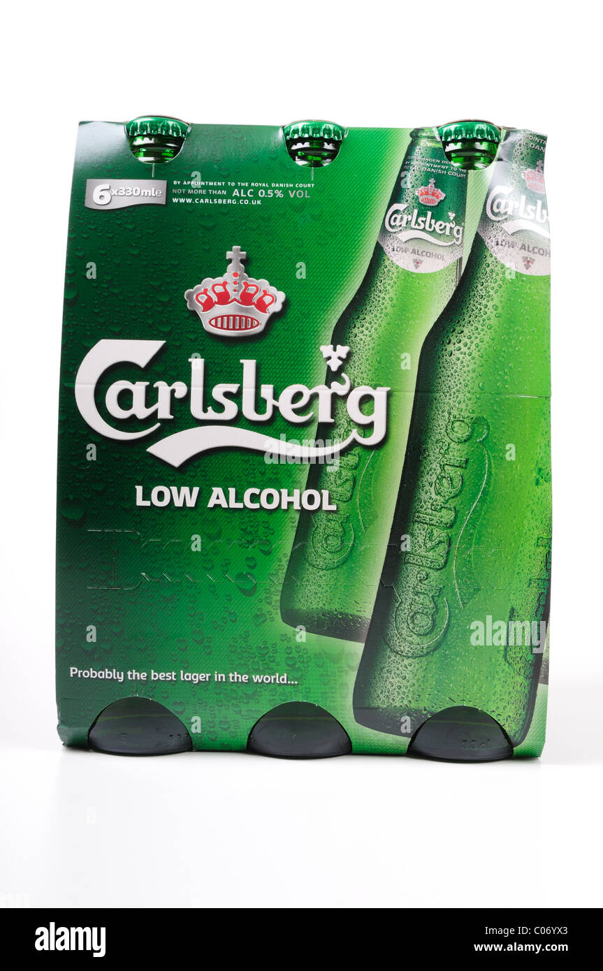 Carlsberg Low Alcohol Beer 6 pack. Stock Photo