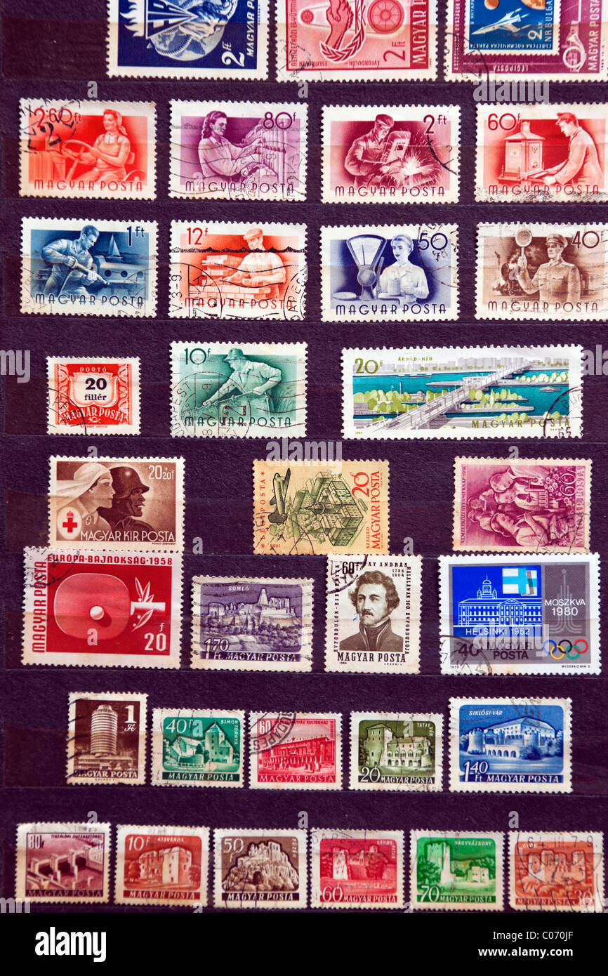 Used stamps from communist Hungary - Stock Image