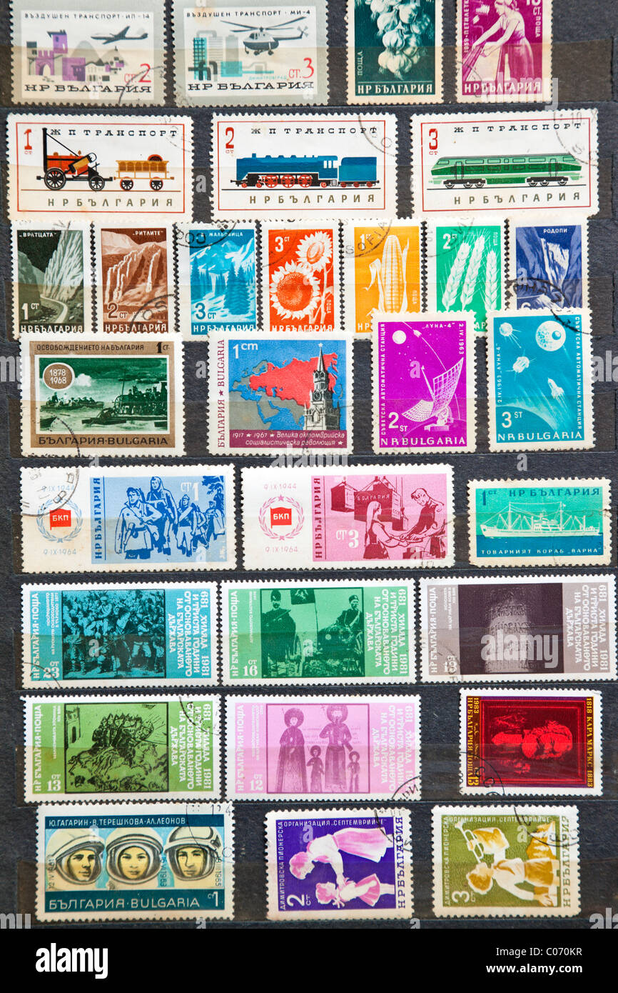 Used stamps from communist Bulgaria - Stock Image