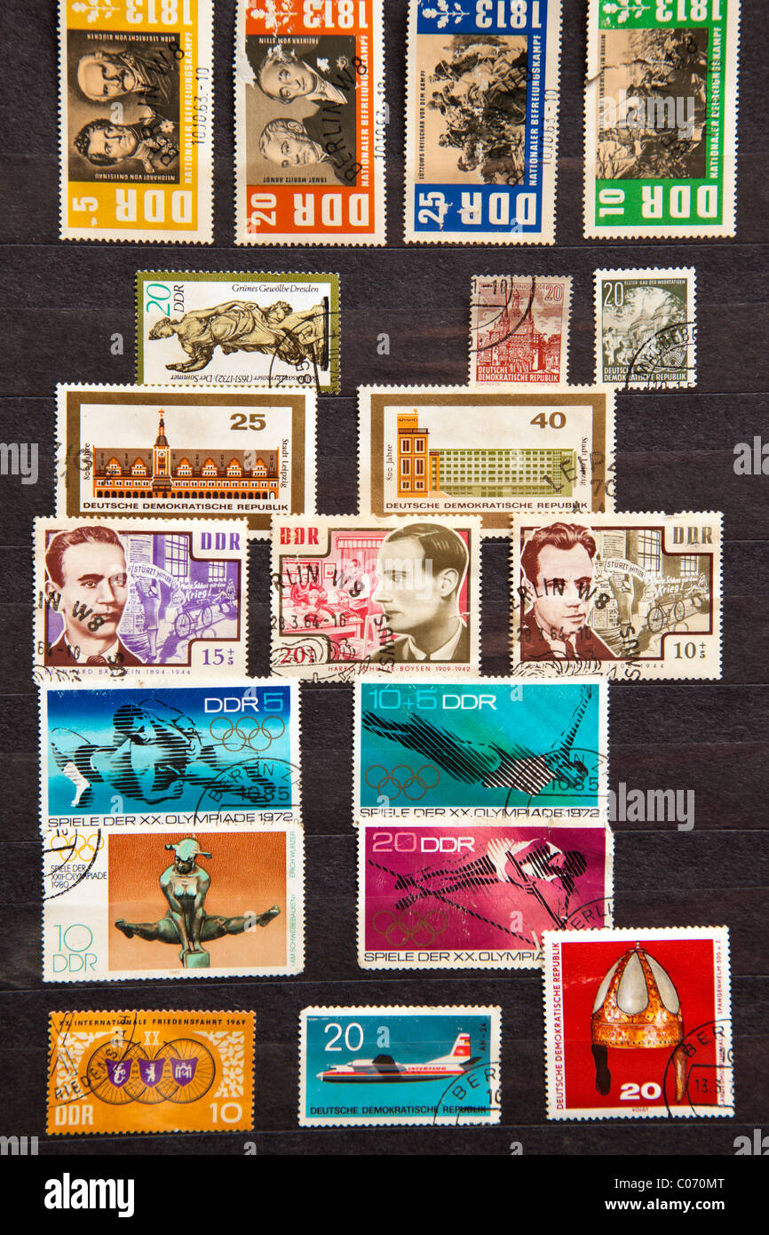 Used stamps from communist East Germany - Stock Image
