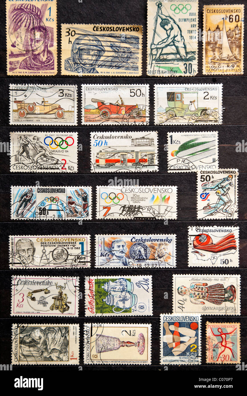 Used stamps from Czechoslovakia - Stock Image