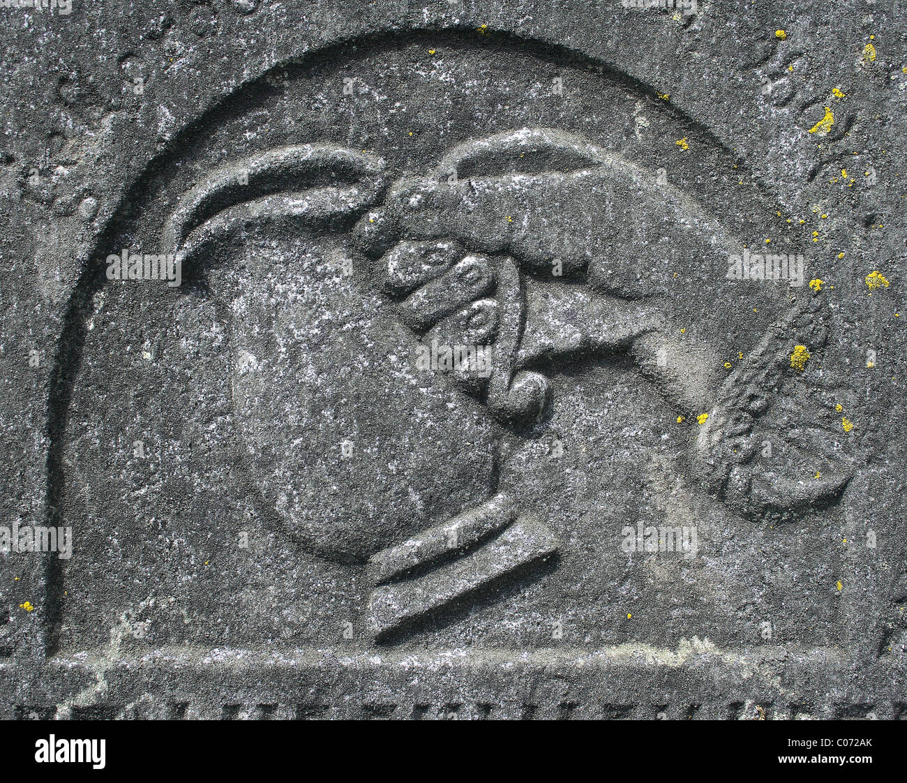 close up of symbol from Jewish tombstone - Stock Image
