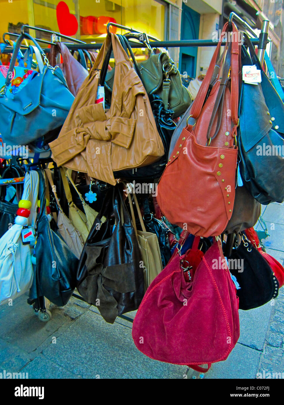 Paris, France, French Vintage Clothing Store, Displays, 'Rain-bow' 'Hand Bags', Les Halles District - Stock Image