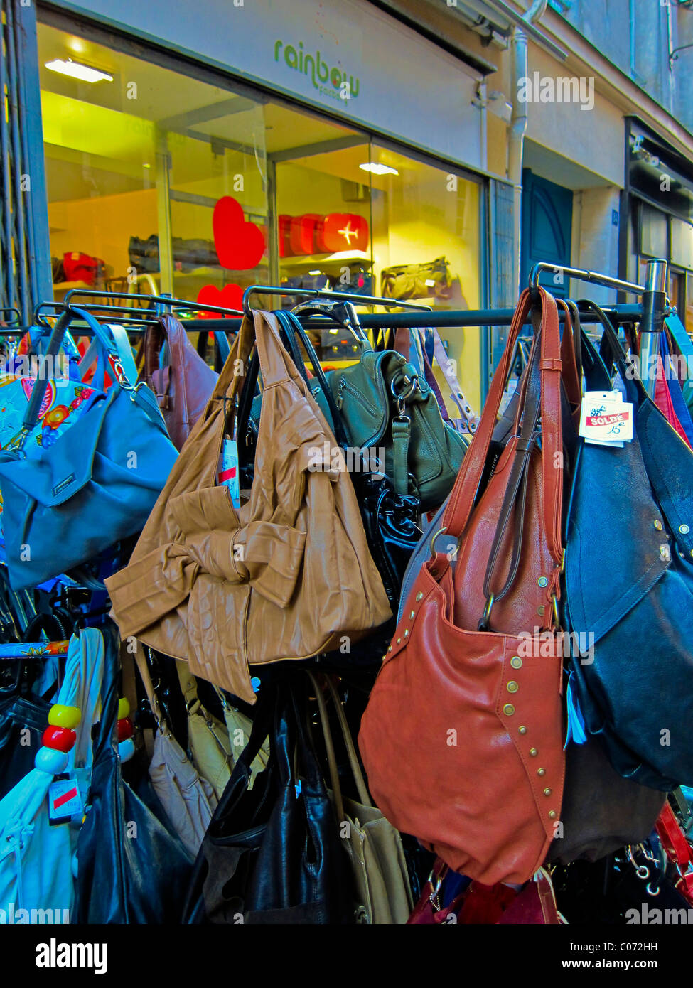 """Paris, France, French Vintage Clothing Store, Displays, """"Rainbow"""" """"Hand Bags"""", Les Halles District Stock Photo"""